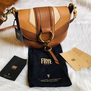 FRYE Genuine Leather Colorblock Saddle Bag
